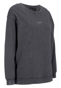 Czarna bluza bonprix długa, z długim rękawem, z nadrukiem