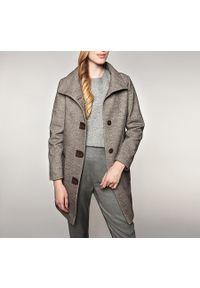 Brązowy płaszcz Wittchen na zimę, klasyczny, z klasycznym kołnierzykiem