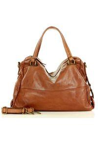 Marco Mazzini handmade - MARCO MAZZINI Oryginalna torba skórzana hobo na ramię old leather brąz camel. Kolor: brązowy. Materiał: skórzane. Rodzaj torebki: na ramię