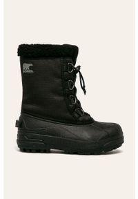 Czarne buty zimowe sorel z okrągłym noskiem, na zimę, z cholewką, na sznurówki