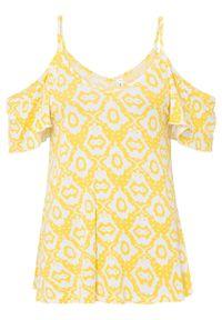 Shirt cold-shoulder LENZING™ ECOVERO™ bonprix żółty ananasowy - biały w deseń paisley. Kolor: żółty. Długość rękawa: na ramiączkach. Wzór: paisley