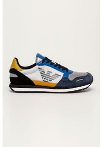 Niebieskie sneakersy Emporio Armani z cholewką, na sznurówki