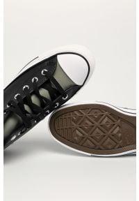 Czarne tenisówki Converse z cholewką, na średnim obcasie, na sznurówki