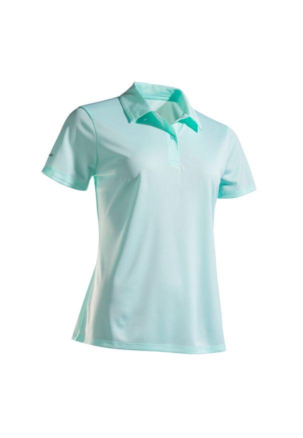 ARTENGO - Koszulka polo tenis DRY 100 damska. Okazja: na co dzień. Typ kołnierza: polo. Kolor: zielony. Materiał: poliester, materiał. Styl: klasyczny, casual