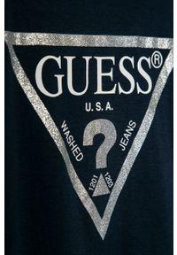 Niebieska bluzka z krótkim rękawem Guess Jeans casualowa, na co dzień, z okrągłym kołnierzem, z nadrukiem
