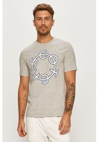 Szary t-shirt Scotch & Soda z okrągłym kołnierzem, z nadrukiem