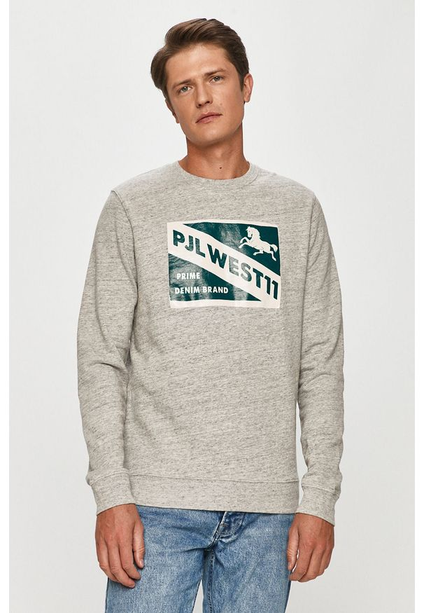Szara bluza nierozpinana Pepe Jeans z okrągłym kołnierzem, na co dzień