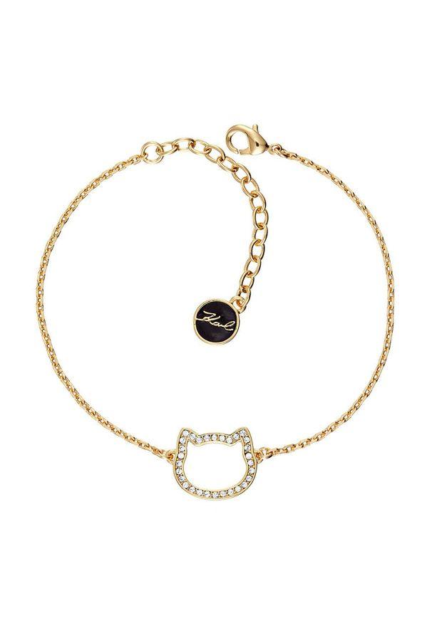 Złota bransoletka Karl Lagerfeld z mosiądzu, z aplikacjami, z kryształem