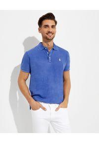 Ralph Lauren - RALPH LAUREN - Niebieska koszulka polo Spa Terry. Typ kołnierza: polo. Kolor: niebieski. Materiał: tkanina, prążkowany. Wzór: haft
