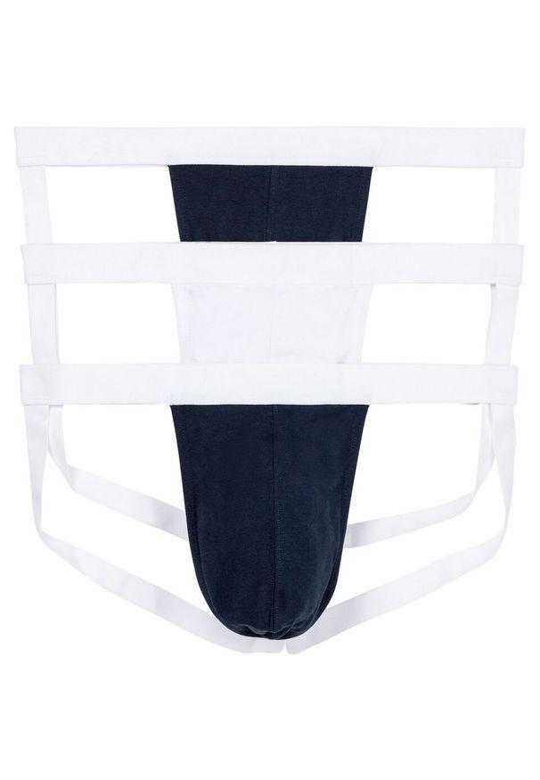 Slipy jockstrap (3 pary) bonprix ciemnoniebiesko-biały. Kolor: niebieski