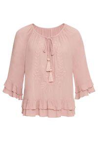 Różowa bluzka bonprix boho, z haftami