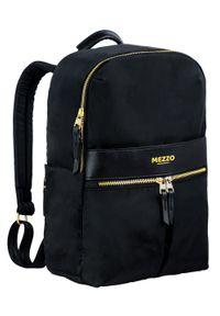 Mezzo - Plecak Męski Elegancki, Czarny, Pojemny, Regulowane Zapięcie, z Portem USB -MEZZO. Kolor: czarny. Materiał: poliester. Styl: elegancki