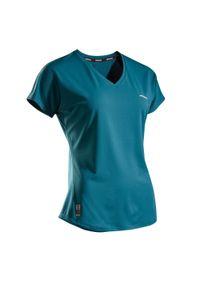 ARTENGO - Koszulka tenisowa TS Soft 500 damska. Kolor: niebieski, wielokolorowy, turkusowy. Materiał: poliester, elastan, materiał. Długość: krótkie