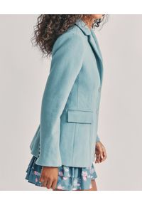 LOVE SHACK FANCY - Błękitna marynarka Lula. Kolor: niebieski. Materiał: tkanina, poliester, wełna. Długość rękawa: długi rękaw. Długość: długie