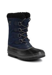 Niebieskie buty zimowe sorel z cholewką, casualowe