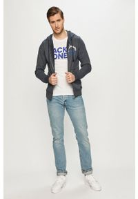 Niebieska bluza rozpinana PRODUKT by Jack & Jones casualowa, z kapturem