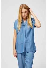 Niebieska koszula MOODO bez rękawów, ze stójką