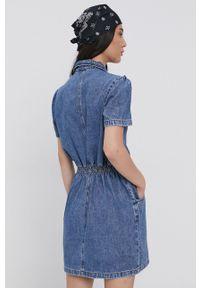 TALLY WEIJL - Tally Weijl - Sukienka jeansowa. Kolor: niebieski. Materiał: jeans. Długość rękawa: krótki rękaw. Typ sukienki: rozkloszowane