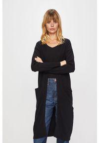 Czarny sweter rozpinany Vila na co dzień, z długim rękawem