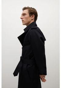 Czarny płaszcz Mango Man gładki, na co dzień #9