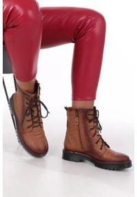 Maciejka - rude trzewiki trapery skórzane sznurowane maciejka 01609-62/00-3. Kolor: brązowy. Materiał: skóra