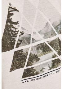 Biały t-shirt Tom Tailor casualowy, melanż