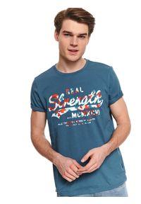 Turkusowy t-shirt TOP SECRET klasyczny, na wiosnę