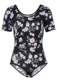 Czarna bluzka bonprix w kwiaty