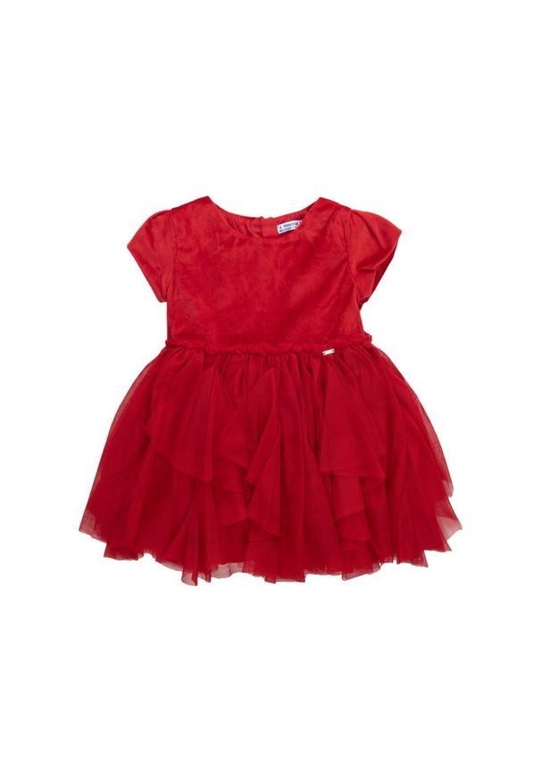 Czerwona sukienka Mayoral na co dzień, prosta, casualowa