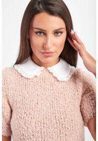 Elisabetta Franchi - SUKIENKA ELISABETTA FRANCHI. Materiał: tkanina, wełna. Długość rękawa: krótki rękaw. Typ sukienki: dopasowane. Długość: mini