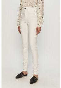 Białe jeansy Noisy may gładkie