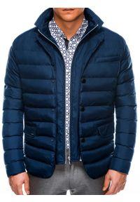 Niebieska kurtka Ombre Clothing na zimę, ze stójką