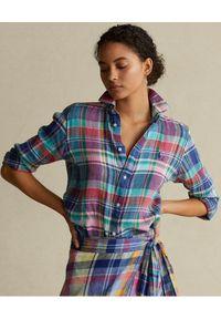 Ralph Lauren - RALPH LAUREN - Lniana koszula w kratę Classic Fit. Typ kołnierza: polo. Kolor: czerwony. Materiał: len. Długość: długie. Styl: klasyczny