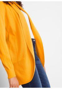 Sweter bez zapięcia, długi rękaw bonprix żółto-pomarańczowy. Kolor: żółty. Długość rękawa: długi rękaw. Długość: długie