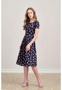 Marie Zélie - Sukienka Melania Bella. Materiał: wiskoza, skóra, materiał. Długość rękawa: krótki rękaw
