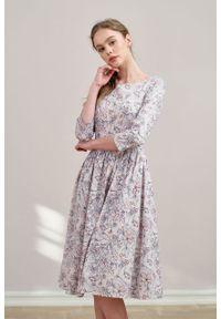 Marie Zélie - Sukienka Melania Lorica. Materiał: bawełna, satyna, skóra, materiał. Długość rękawa: krótki rękaw