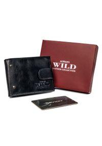 ALWAYS WILD - Portfel męski czarny Always Wild N20196L-VTK-N-4657 B. Kolor: czarny. Materiał: skóra. Wzór: aplikacja