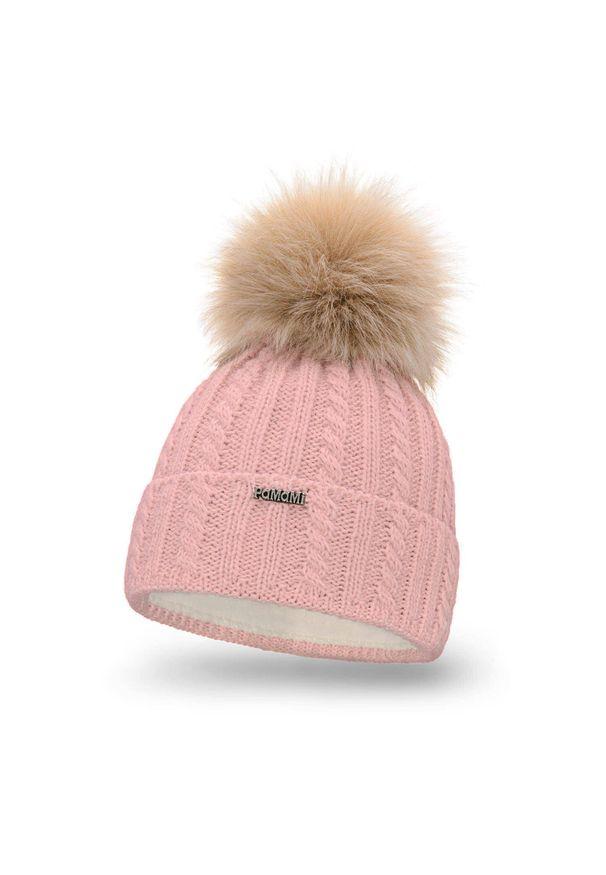 Różowa czapka zimowa PaMaMi z aplikacjami
