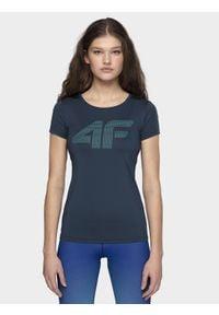 4f - Koszulka treningowa damska. Kolor: niebieski. Materiał: skóra, dzianina. Wzór: gładki. Sport: fitness