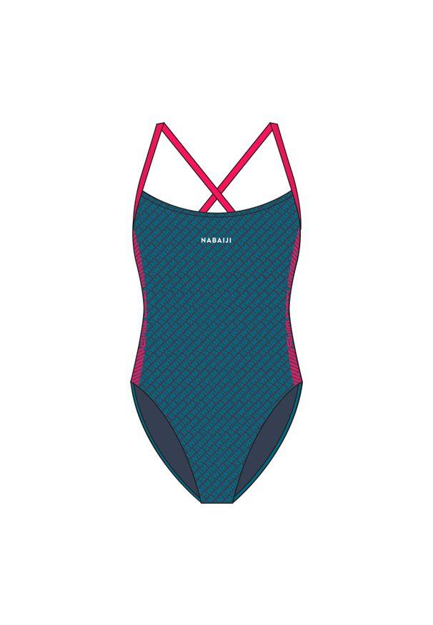 NABAIJI - Strój Jednoczęściowy Pływacki Jade All Diag Dla Dzieci. Kolor: niebieski, różowy, wielokolorowy. Materiał: poliamid, materiał, poliester