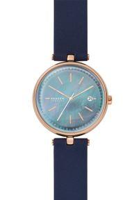 Skagen - Zegarek SKW2981. Kolor: niebieski. Materiał: skóra, materiał