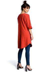 BE - Trapezowa tunika zaokrąglony dół i duże kieszenie czerwona. Kolor: czerwony. Materiał: bawełna, dzianina. Sezon: lato. Typ sukienki: trapezowe