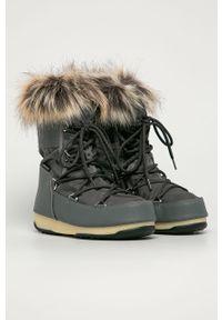 Szare śniegowce Moon Boot z okrągłym noskiem, na obcasie #4