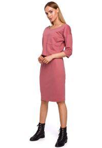 MOE - Różowa Dzianinowa Sukienka z Kieszonką. Kolor: różowy. Materiał: dzianina