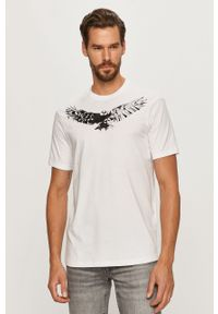 Biały t-shirt Armani Exchange z nadrukiem, z okrągłym kołnierzem