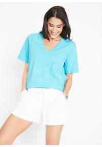 Długi shirt z dekoltem w szpic (5 sztuk), krótki rękaw bonprix błękit laguny + ciemnoszmaragdowy + niebieskozielony + biały + jasnoszary melanż. Kolor: niebieski. Długość rękawa: krótki rękaw. Długość: krótkie. Wzór: melanż