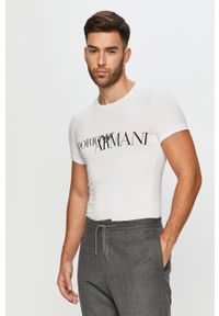Biały t-shirt Emporio Armani z okrągłym kołnierzem, z nadrukiem