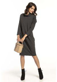 Tessita - Ciemnoszara Bawełniana Sukienka z Golfem. Typ kołnierza: golf. Kolor: szary. Materiał: bawełna