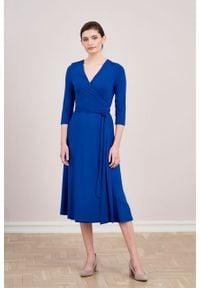 Marie Zélie - Sukienka Aida kobaltowa. Kolor: niebieski. Materiał: dzianina