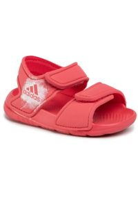 Czerwone sandały Adidas na rzepy, w paski